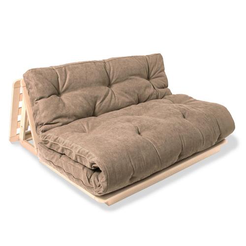 FUTON 140x200 Layti 140 sofa rozkładana surowe drewno - beżowy