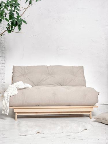 FUTON Layti 140 sofa rozkładana surowe drewno - śmietanka