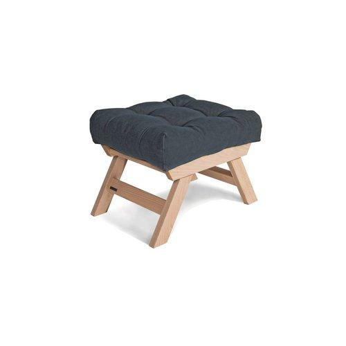 Allegro podnóżek drewniany, pufka surowe drewno - grafit