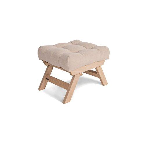 Allegro podnóżek drewniany, pufka surowe drewno - krem