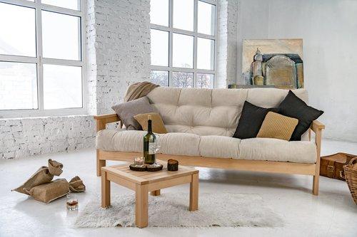MEXICO sofa surowe drewno - krem