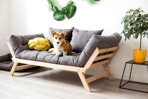 Allegro sofa rozkładana kanapa surowe drewno - popielaty