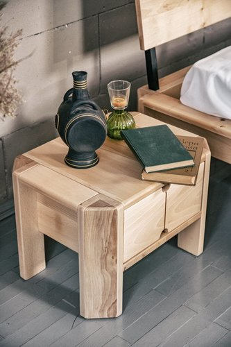 Loft stolik nocny z szufladą surowe drewno