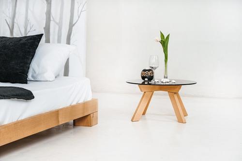 Cube łóżko małżeńskie 140x200 surowe drewno