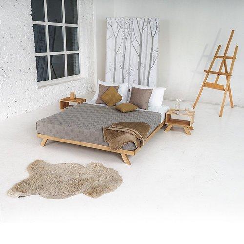 Allegro łóżko drewniane do sypialni 140x200 drewno olejowane (olej lniany)