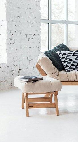 Allegro podnożek do fotela, pufka drewno olejowane (olej lniany) - krem