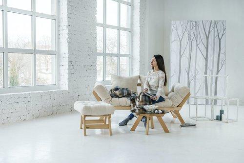 Allegro sofa rozkładana kanapa drewno olejowane (olej lniany) - krem