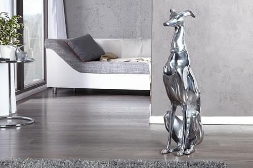 INVICTA dekoracja GREYHOUND 70cm srebrna - aluminium