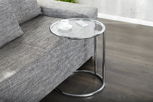 INVICTA stolik ART DECO chrom - metal, szkło