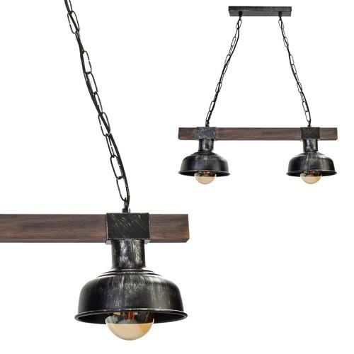 Lampa Wisząca Faro Black / Wood 2x E27 60 W