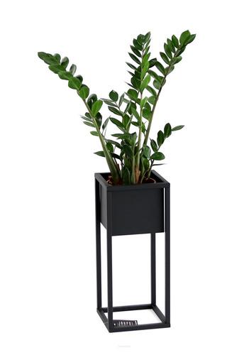 Kwietnik LOFT podłogowy metalowy stojak na rośliny CUBO 50cm czarny