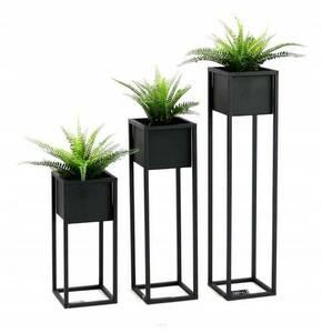 Kwietnik LOFT podłogowy metalowy stojak na rośliny CUBO 50cm czarny small 3