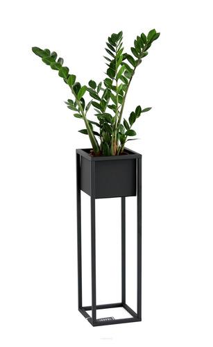Kwietnik Loft metalowy stojak na rośliny CUBO 70cm czarny skrzynka loft