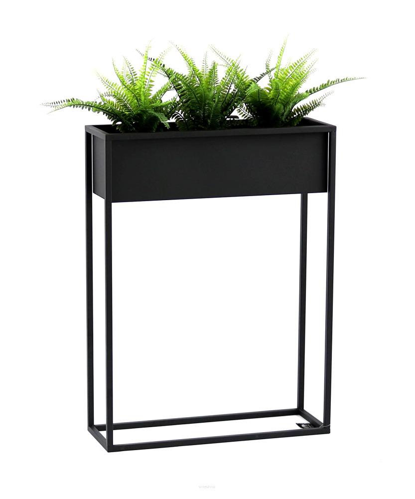 Kwietnik metalowy stojak na rośliny CUBO 80x60cm czarny skrzynka loft