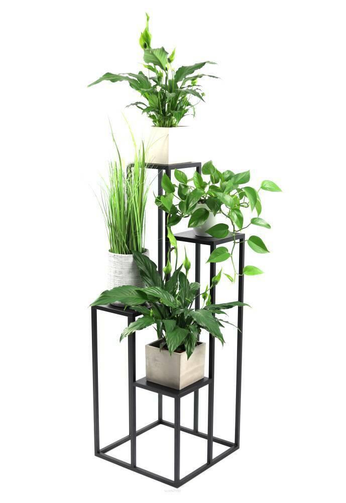 Kwietnik metalowy stojak na cztery kwiaty METALLO 112cm czarny LOFT