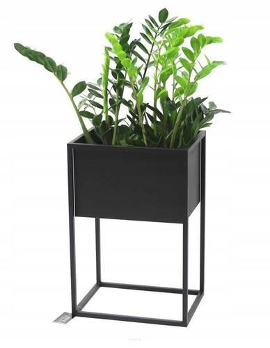 Zewnętrzny kwietnik stojak na rośliny CUBO 60x40x30cm czarny skrzynka LOFT