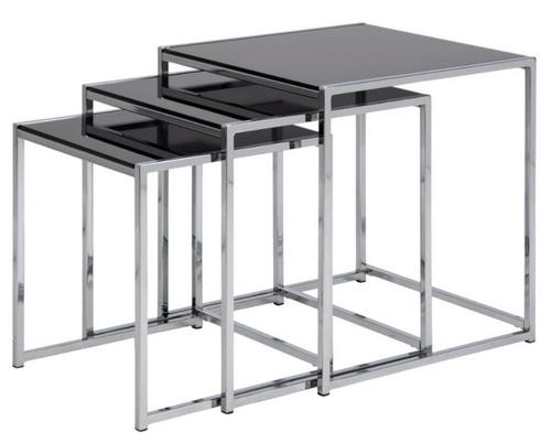 ACTONA zestaw stolików CROSS TRIO czarny - szkło, chrom