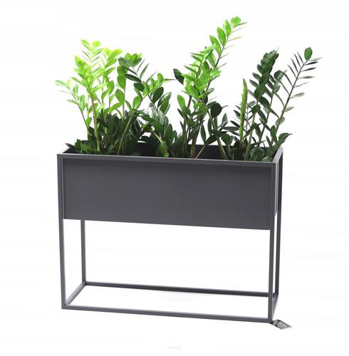 Kwietnik metalowy stojak na rośliny CUBO 60x80x30cm szary skrzynka loft