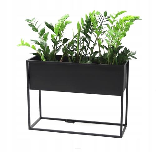Kwietnik metalowy stojak na rośliny CUBO 60x80x30cm czarny skrzynka LOFT