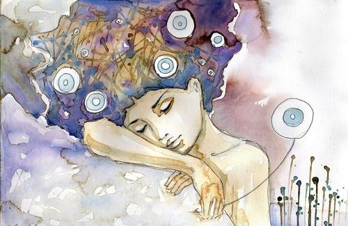 Fototapeta kobieta, sztuka, barwy, sen, relaks, odpoczynek, piękno, delikatność