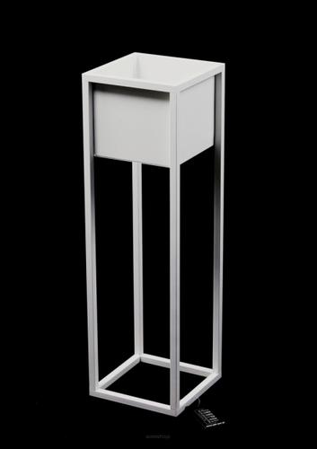 Kwietnik Loft metalowy stojak na rośliny CUBO 70cm biały skrzynka loft