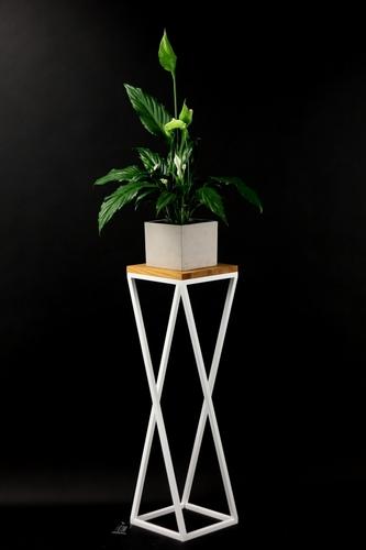 Kwietnik Metalowy stojak drewno na rośliny TAVOLO 80cm biały loft