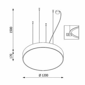 ABA PREMIUM 1200 wisząca, LED PHILIPS LV 220,5W/26950lm/3000K, 230V, srebrny aluminiowy (mat struktura) RAL 9006 small 1