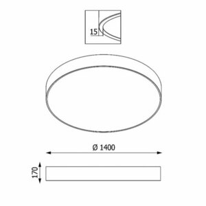 ABA PREMIUM 1400 plafon, LED PHILIPS LV 324W/39600lm/3000K/TD, 230V, biały  (mat) RAL 9003 small 1