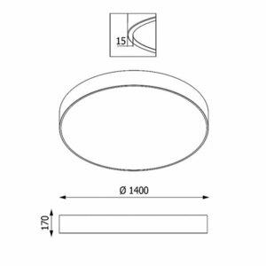 ABA PREMIUM 1400 plafon, LED PHILIPS LV 324W/39600lm/3000K/TD, 230V, szary grafitowy (połysk) RAL 7024 small 1