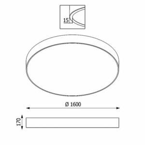 ABA PREMIUM 1600 plafon, LED PHILIPS LV 432W/52800lm/3000K, 230V, czarny głęboki (połysk) RAL 9005 small 1
