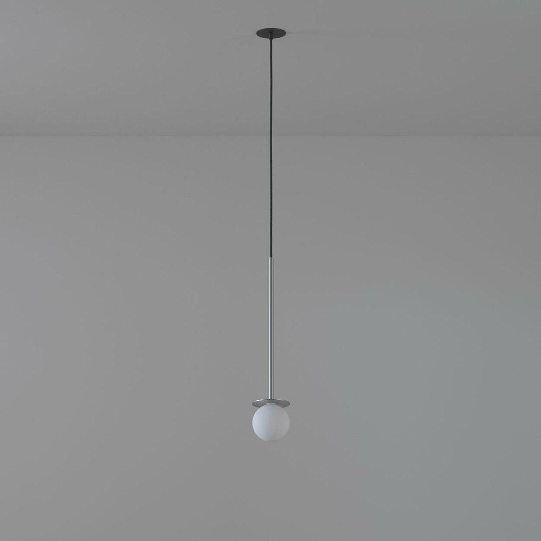 COTTON 500 fi100 wisząca wpust max.1x1,9W, G9, 230V, przewód czarny, kolor srebra (gładki mat)