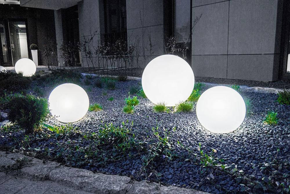 Zestaw Lampy Ogrodowe Kule Luna Balls 20,25,30 cm + Żarówki Led