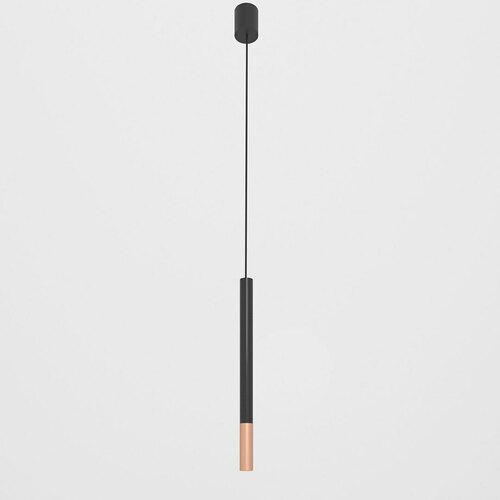 NERON 400 wisząca max. 1x2,5W, G9, 230V, przewód czarny, kolor miedzi (gładki mat), czarny głęboki (połysk) RAL 9005