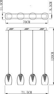 LAMPA WEWNĘTRZNA (WISZĄCA) ZUMA LINE ENZO PENDANT MD1622-4A (CLEAR) small 2