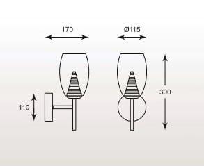 LAMPA WEWNĘTRZNA (KINKIET) ZUMA LINE ENZO WALL MB1622-1 (CLEAR) small 1
