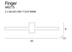 Finger Round kinkiet mały biały IP54 W0215 Max Light small 2