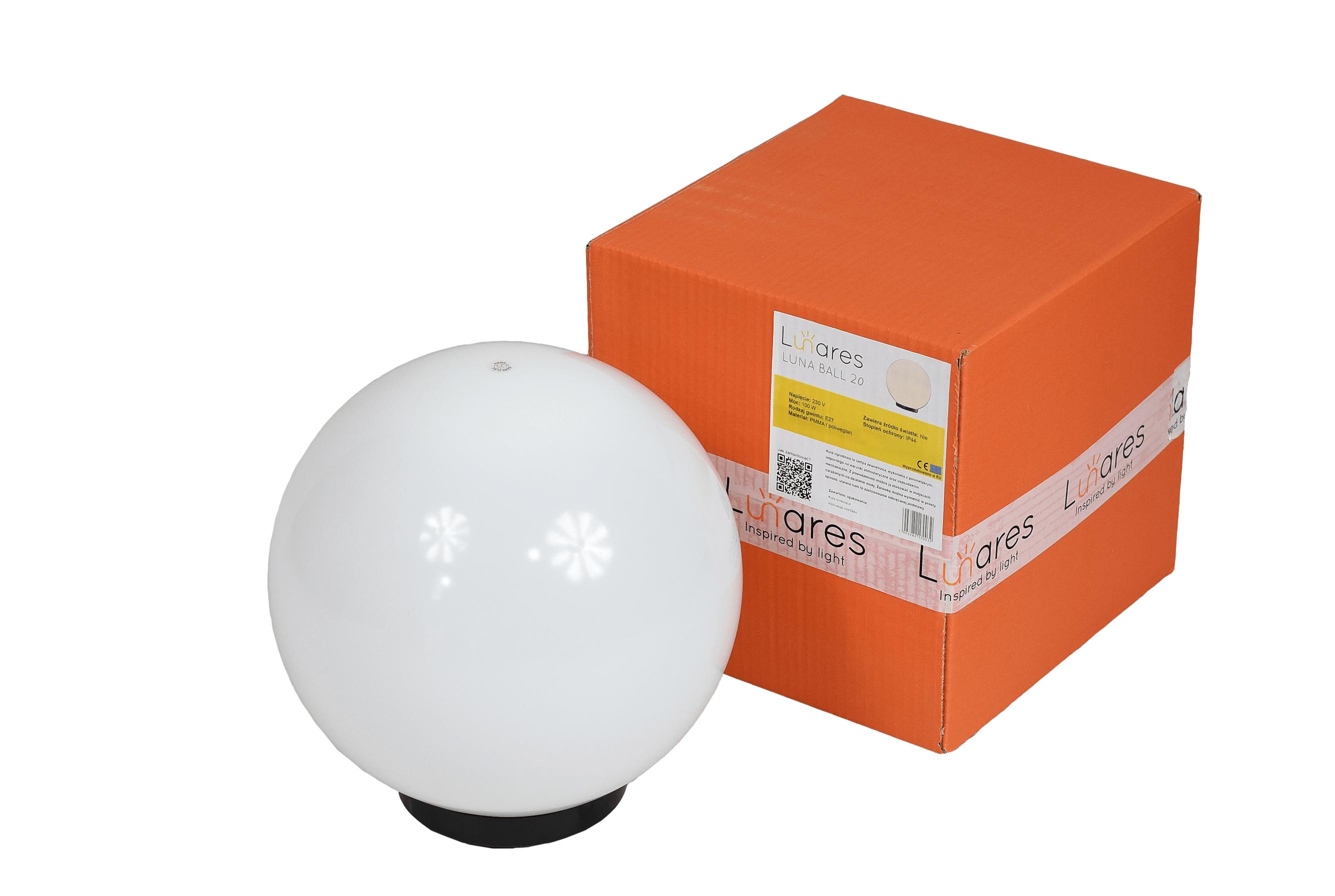 Lampa ogrodowa Biała Kula Dekoracyjna Luna Ball 20 cm