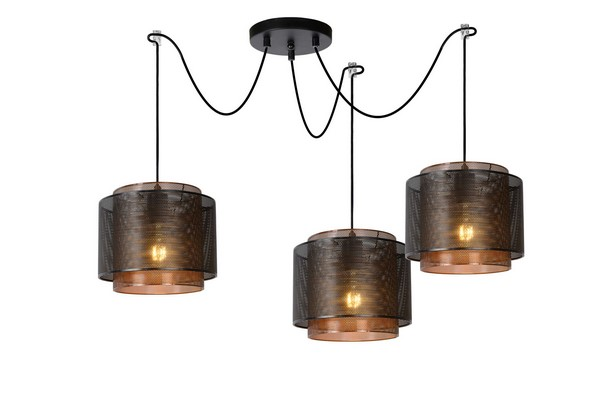 Lampa wisząca trzypunktowa ORIGIN czarny metal E27