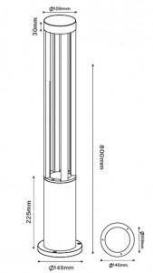 Czarny Metalowy Słupek Ogrodowy LED Windmill Post 80cm 10W 6400K small 1