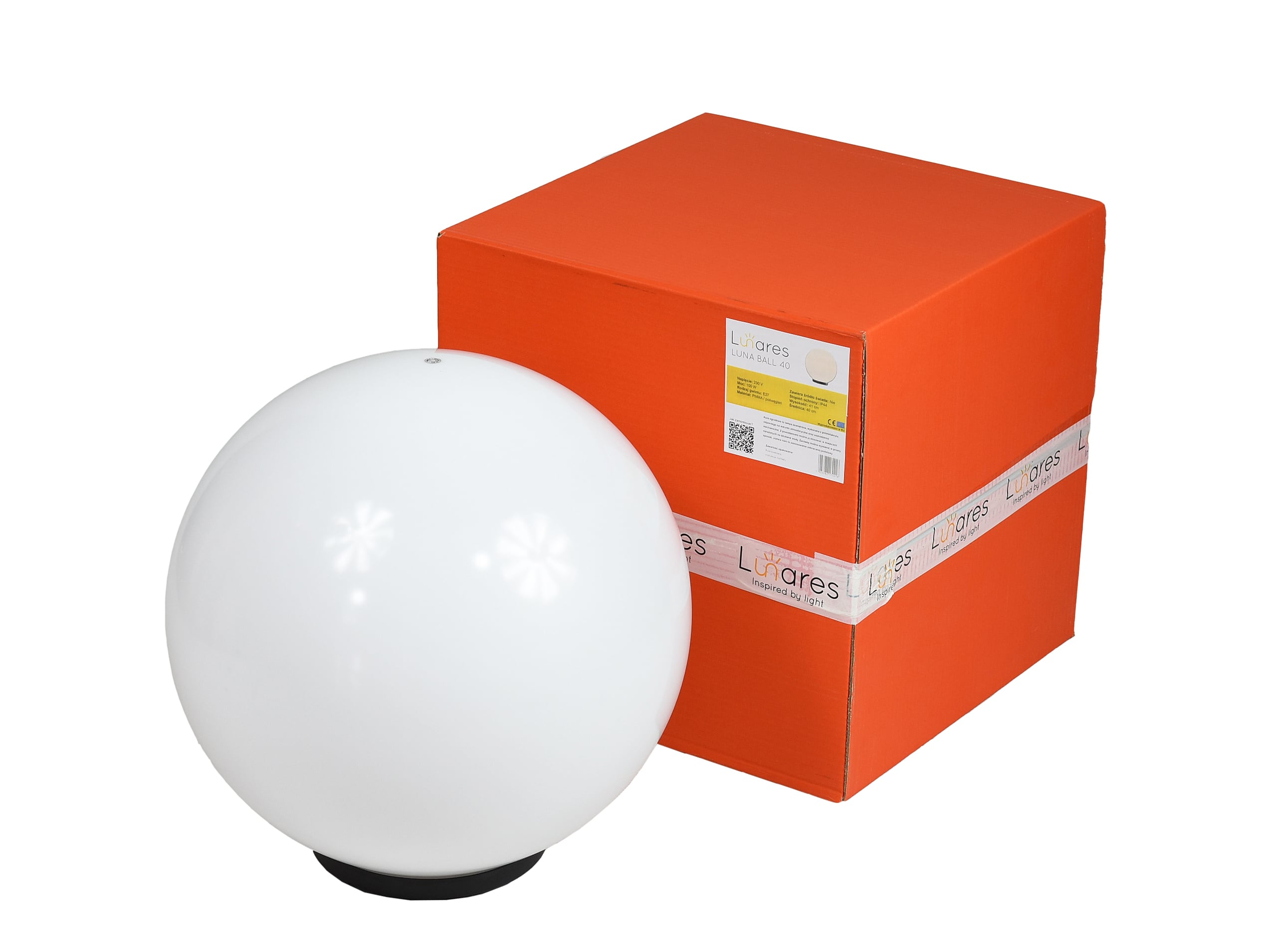 Kula Dekoracyjna Biała Połysk - Luna Ball 40 cm