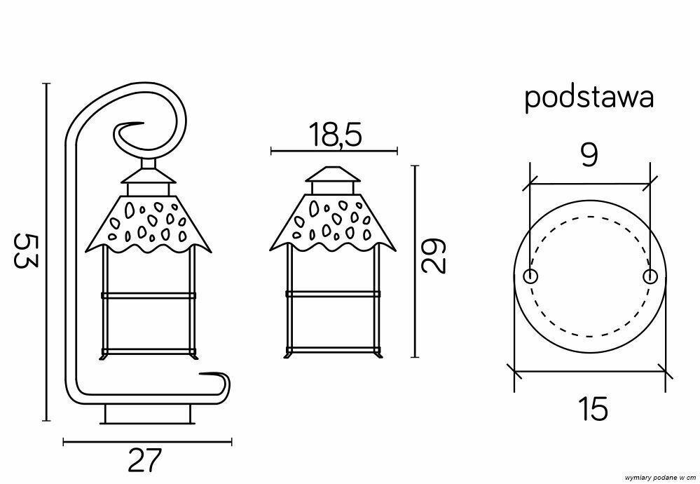 Latarenka ogrodowa na zawieszce z witrażem (53cm) - CADIZ K 4011/1/Z