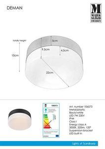 DEMAN Plafon 22cm Czarny/Biały IP44 small 0