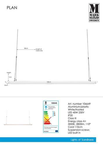 PLAN Panel 120cm 40W Biały