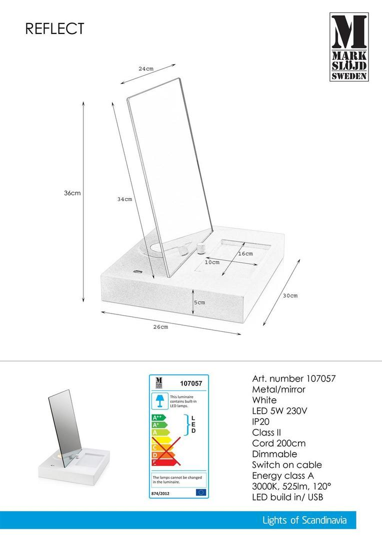 REFLECT Stołowa 1L USB Lustro Biała