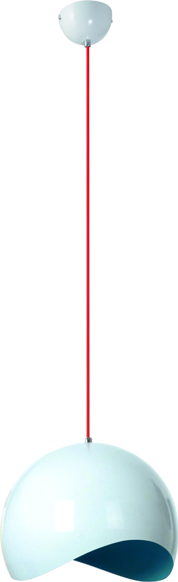 Biała Lampa wisząca Alena z niebieskim środkiem