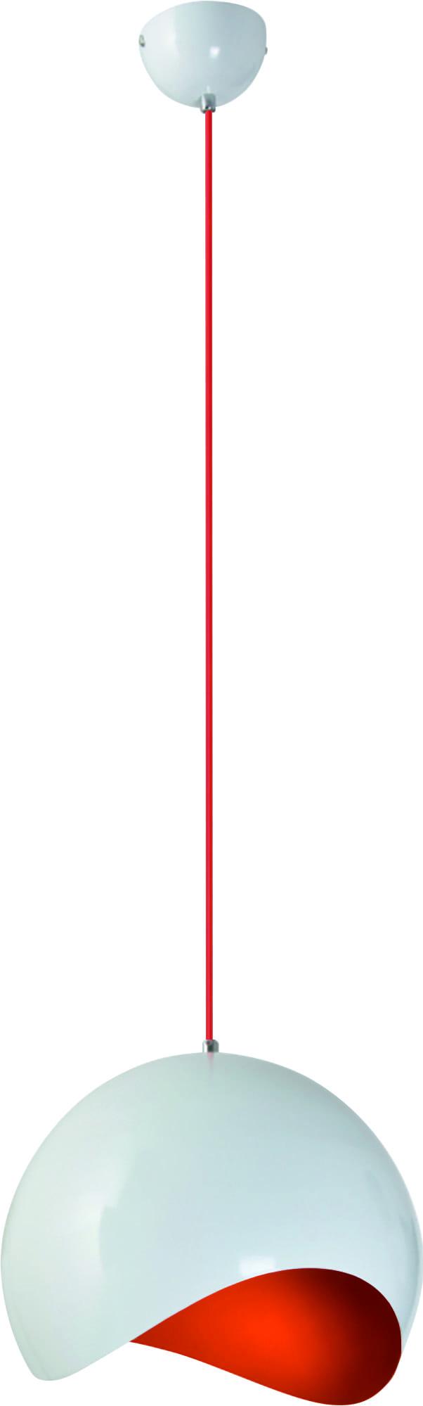 Biała lampa wisząca z czerwonym środkiem Alena