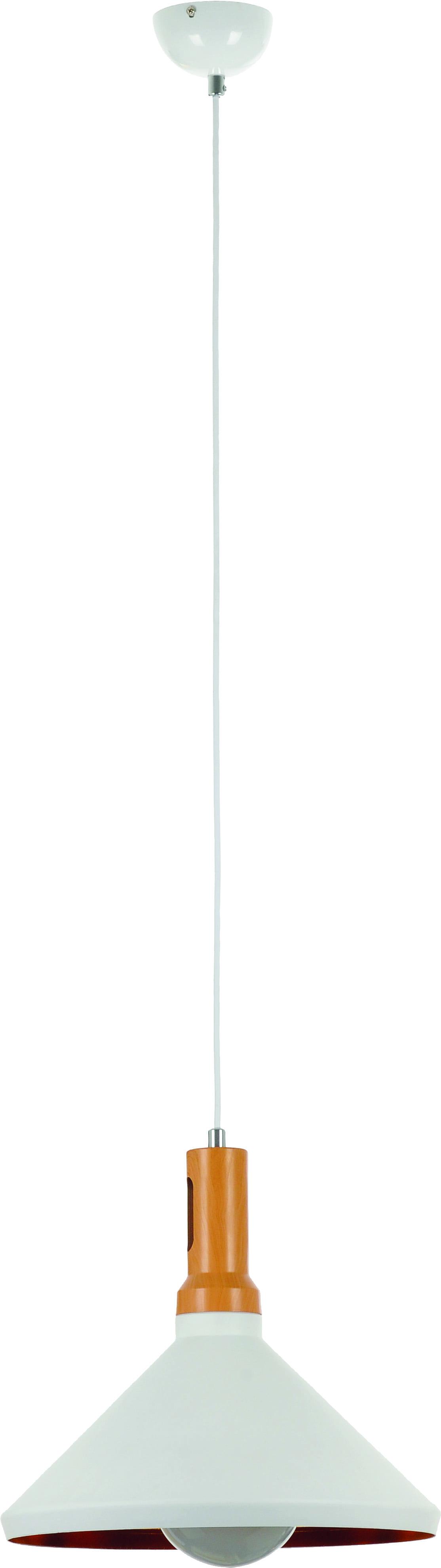 Lampa wisząca Selene biały klosz drewno 60W