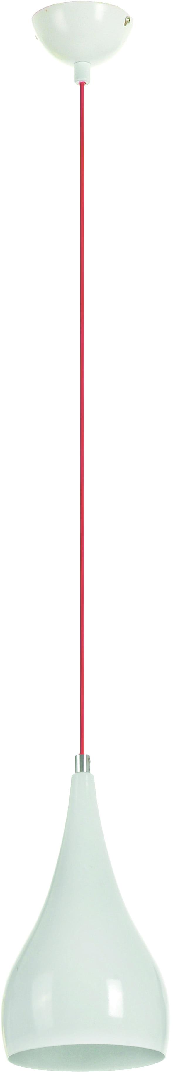 Lampa wisząca Erynie biały klosz czerwony kabel