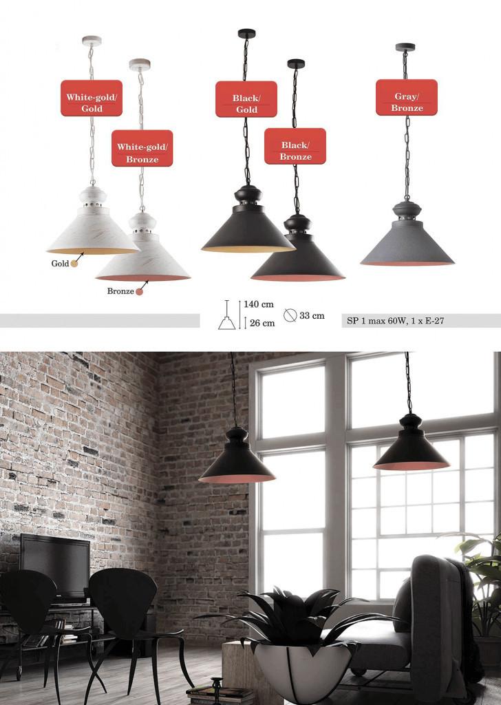 Czarno-brązowa Metalowa Lampa Wisząca Doreen