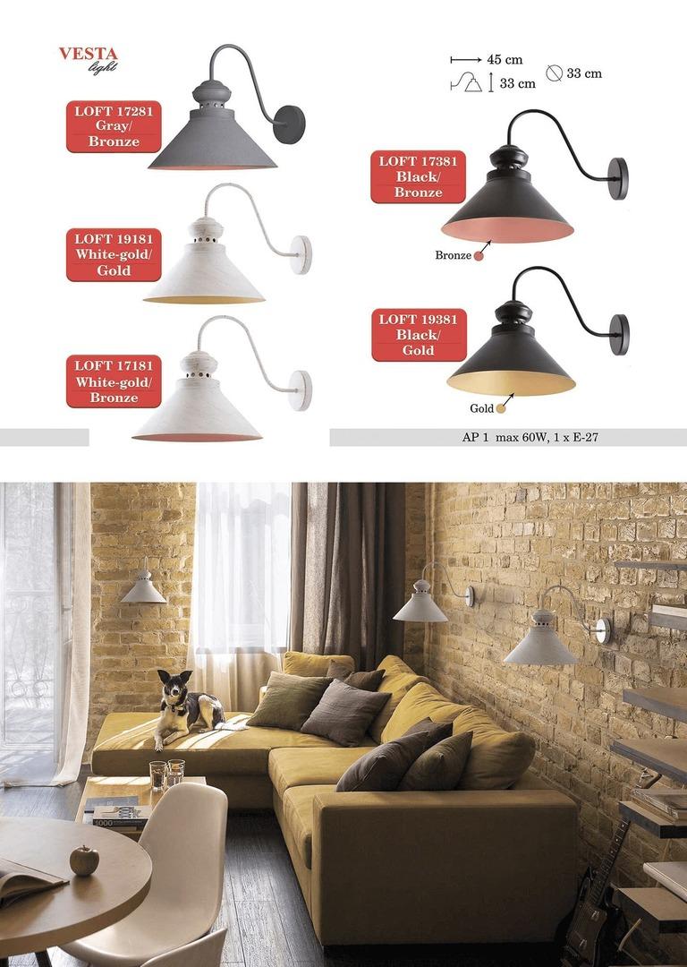 Biało-złota Metalowa Lampa Kinkiet Leona